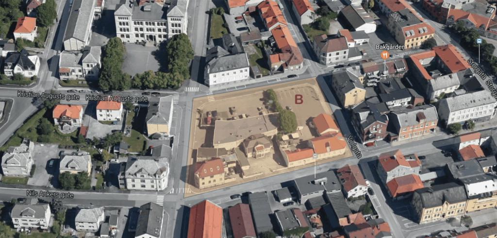 Kvartalet ved Frivilligsentralen og bilverkstedet.