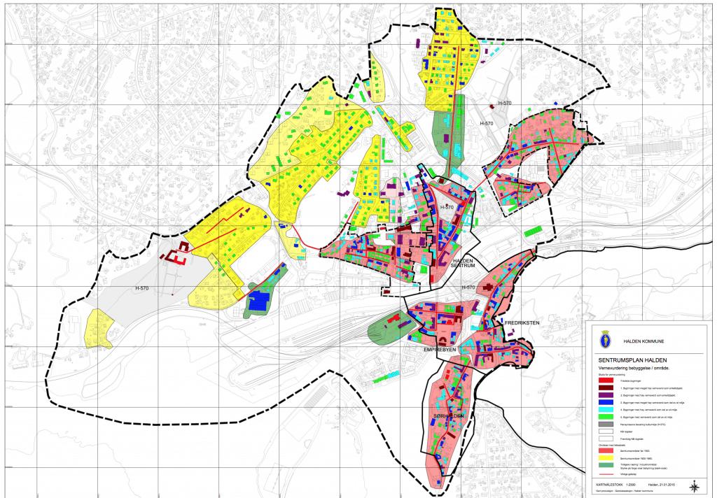 Det er nå en stor del av bygningsmassen i sentrum som har fått en vernegrad der bestemmelser om tilbakeføring gjelder. Det gjelder alle bygninger med en farge på kartet, i følge Bergman.